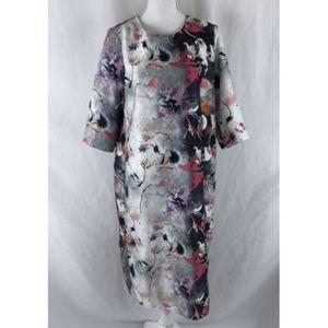 Asos Shift Dress Floral Graffiti Short Sleeve 10